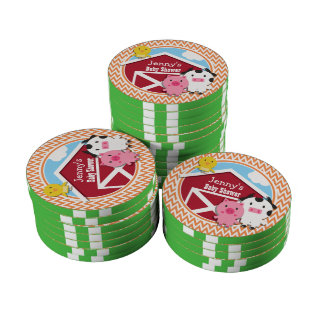 Farm Theme Baby Shower Orange and White Chevron Poker Chip Set