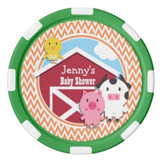 Farm Theme Baby Shower; Orange and White Chevron Poker Chips Set