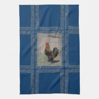 Farm Theme Rooster Dish Towel, Blue Background Towel
