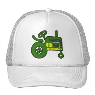 Farm Tractor 4th Birthday Gifts Trucker Hat