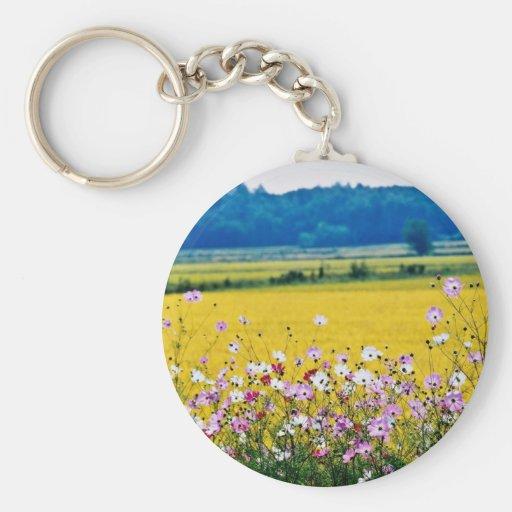 Farm village, fall  flowers keychain
