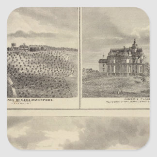 Farm, vineyard and residences in Cedar County Square Sticker