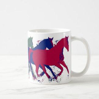 farm wild horses running basic white mug