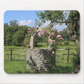 Farm wishing well and roses, Spain Mouse Pad