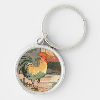 Farm Yard Rooster Silver-Colored Round Key Ring