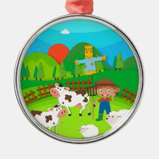 Farmer and farm animals on the farm Silver-Colored round decoration