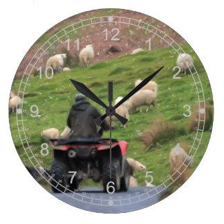 Farmer and Sheep Large Clock