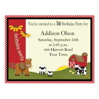 Farmer Baby Birthday Party Invitation Postcard