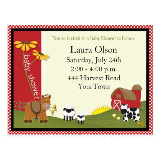Farmer Baby Shower Postcard Invitation