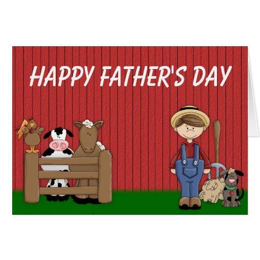 Farmer & Barn Happy Father's Day Greeting Card