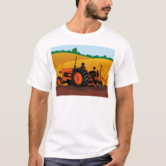 farmer driving farm tractor plowing field T-Shirt