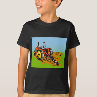 farmer driving farm tractor plowing field T-Shirt
