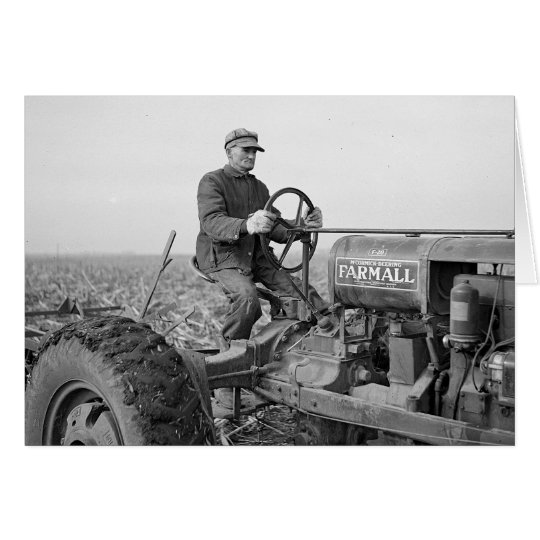 Farmer Driving Tractor, 1937 Card