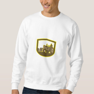 Farmer Driving Tractor Plowing Farm Shield Retro Sweatshirt
