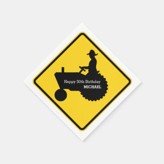 Farmer Driving Tractor Road Sign Personalized Paper Napkin