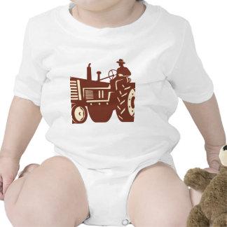 Farmer Driving Vintage Tractor Retro Bodysuit