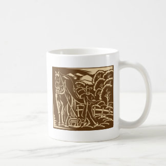 Farmer Farming Plowing With Farm Horse Retro Mugs