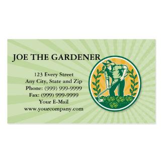 Farmer Gardener With Garden Hoe Cabbage Business Cards
