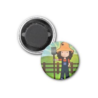 Farmer Girl 3 Cm Round Magnet