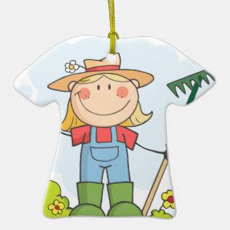 Farmer girl with a rake in grass christmas ornaments