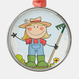 Farmer girl with a rake in grass Silver-Colored round decoration