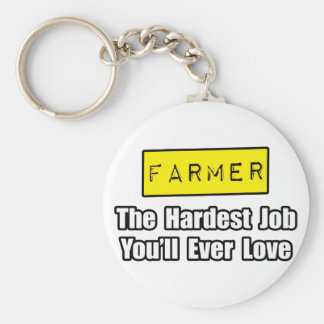 Farmer...Hardest Job You'll Ever Love Basic Round Button Key Ring