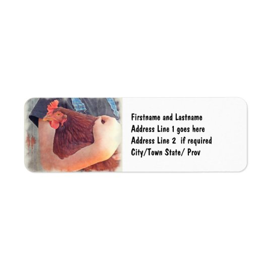 Farmer Hugging Chicken Painted Style Return Address Label