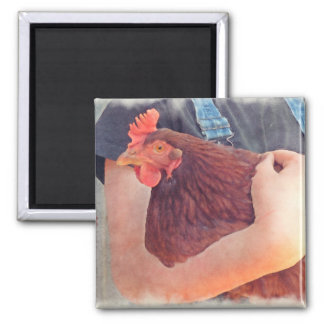 Farmer Hugging Chicken Painted Style Square Magnet