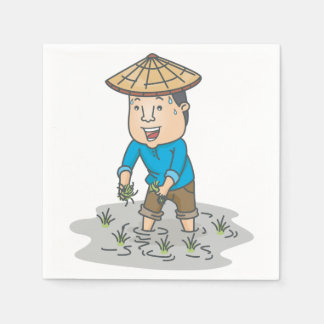 Farmer In A Rice Field Paper Napkins