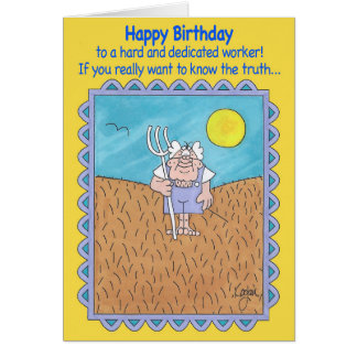 FARMER IN FIELD Birthday Card