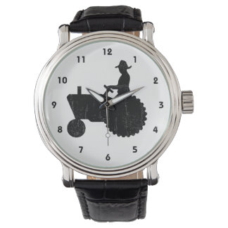 Farmer Man on Tractor Sign Wristwatch