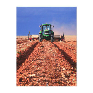 Farmer Planting Maize Using Tractor, Vaalkop Canvas Print