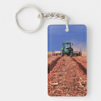 Farmer Planting Maize Using Tractor, Vaalkop Key Ring