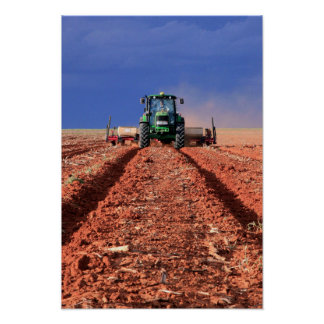 Farmer Planting Maize Using Tractor, Vaalkop Poster