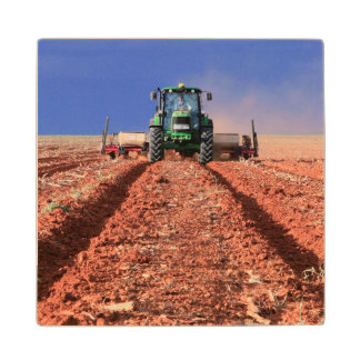Farmer Planting Maize Using Tractor, Vaalkop Wood Coaster
