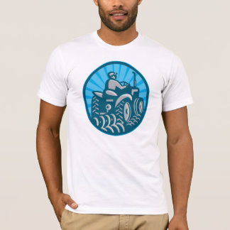 Farmer Plowing With Tractor Retro T-Shirt