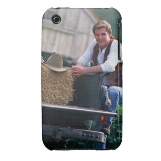 Farmer posing by pickup truck with hay bale iPhone 3 Case-Mate case