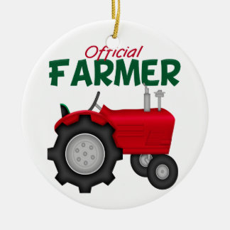 Farmer  Red Tractor Round Ceramic Decoration