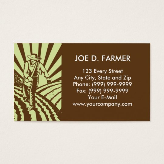 farmer  sowing seeds ploughed field business card