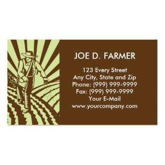 farmer  sowing seeds plowed field business card templates