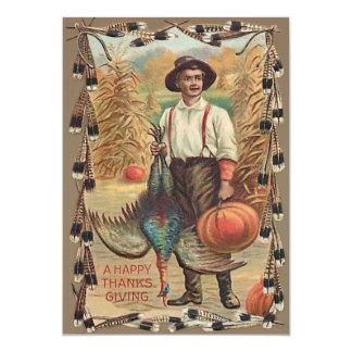Farmer Turkey Pumpkin Corn Shock Feathers 13 Cm X 18 Cm Invitation Card