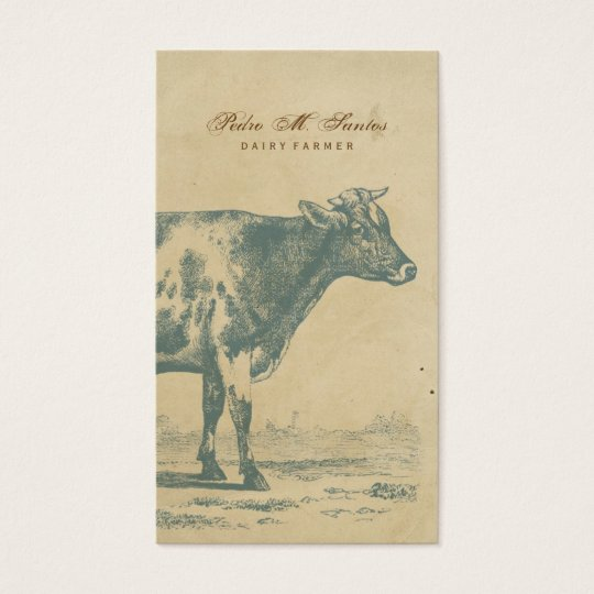 Farmer Vintage Dairy Cow Simple Rustic Cool Animal