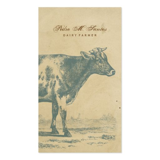 Farmer Vintage Dairy Cow Simple Rustic Cool Animal Business Card Template