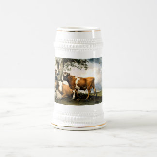 Farmer with cows and sheep beer steins