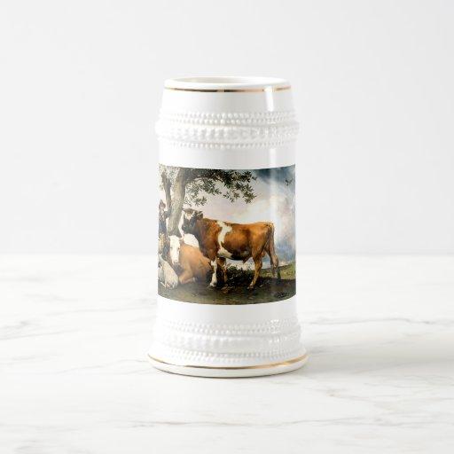 Farmer with cows and sheep coffee mug