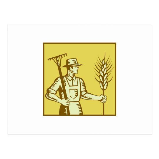 Farmer With Rake and Wheat Woodcut Postcard