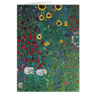 Farmergarden w Sunflower by Klimt, Vintage Flowers Card