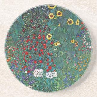 Farmergarden w Sunflower by Klimt, Vintage Flowers Coaster
