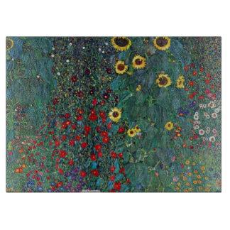 Farmergarden w Sunflower by Klimt, Vintage Flowers Cutting Board