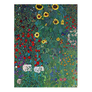 Farmergarden w Sunflower by Klimt, Vintage Flowers Postcard